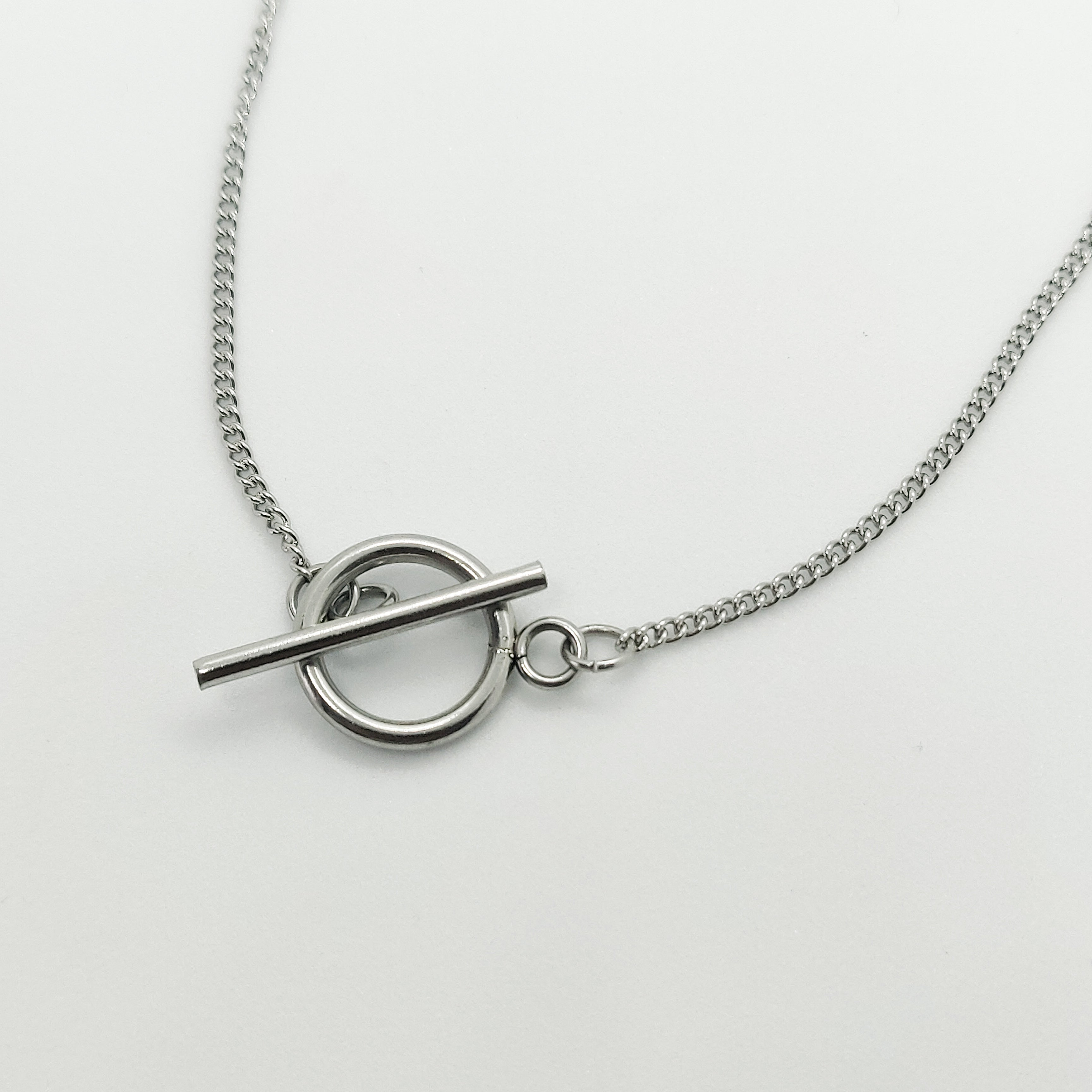 Fine Silver Cable Toggle Necklace