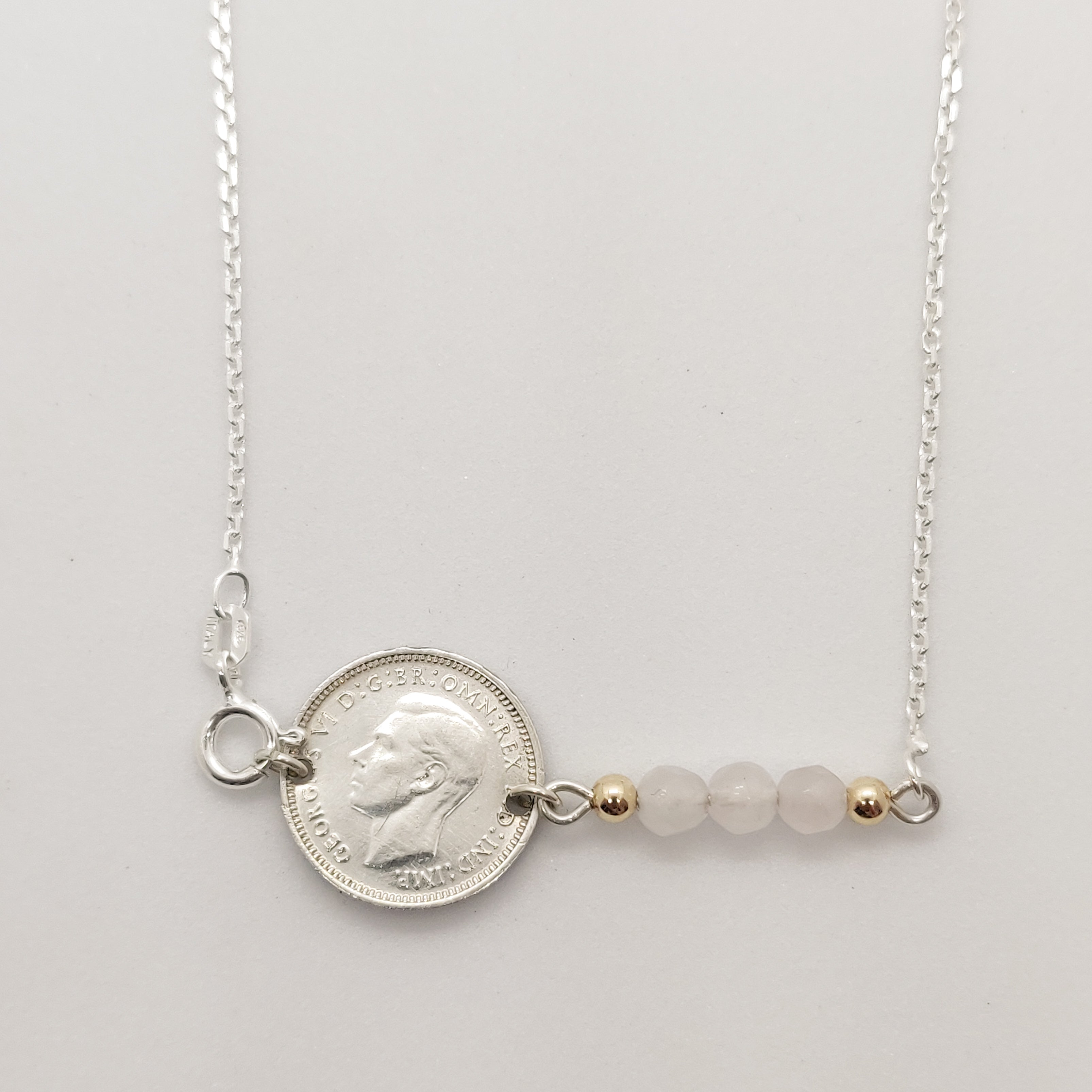 Threepence Rose Quartz Coin Necklace