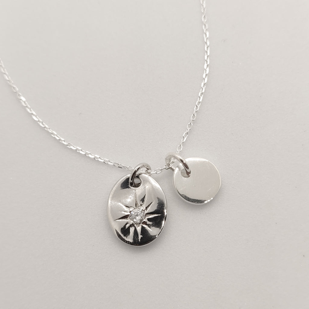Personalised Jia Silver Starburst Necklace