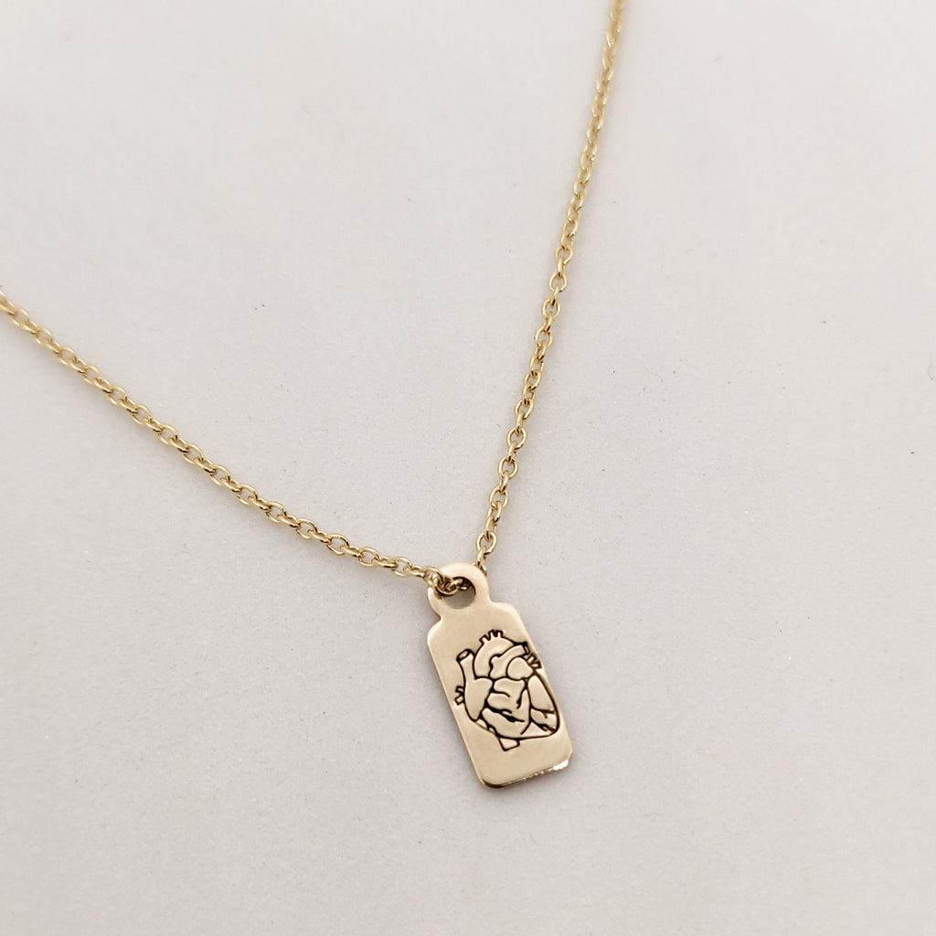 Anatomical Heart Gold Necklace