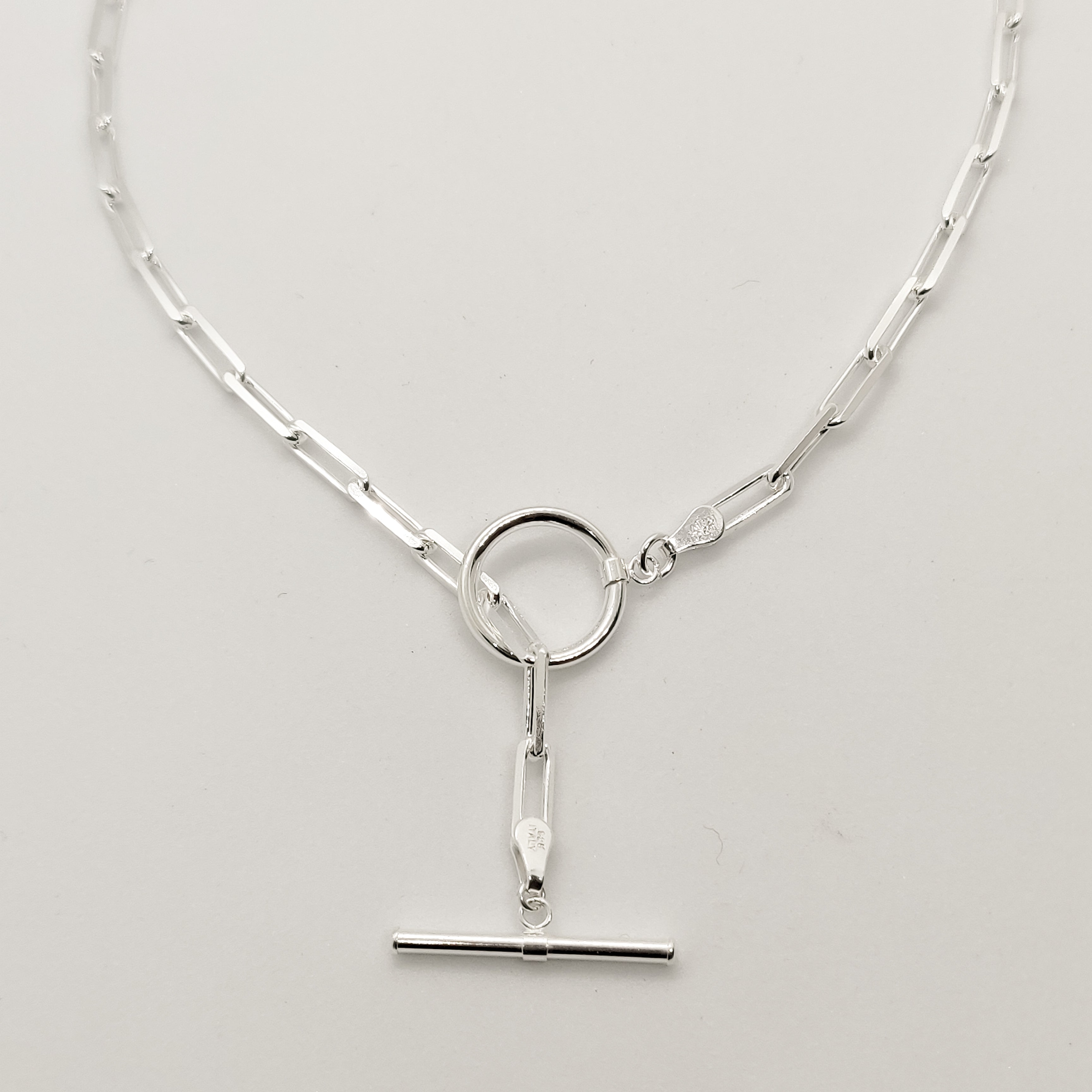 Chunky Silver Paperclip Toggle Necklace