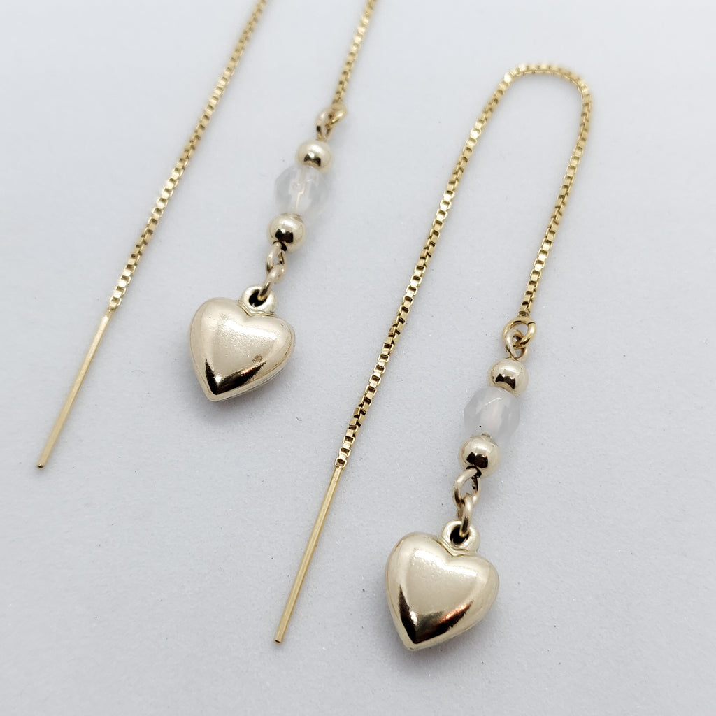 Nisha Puffy Heart Gold Threader Earrings