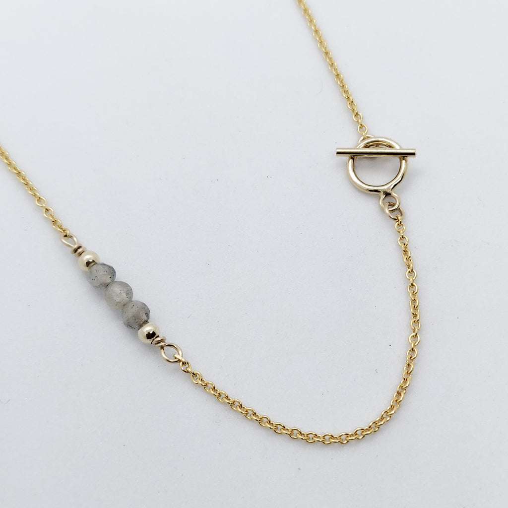 Lia Labradorite Gold Toggle Necklace