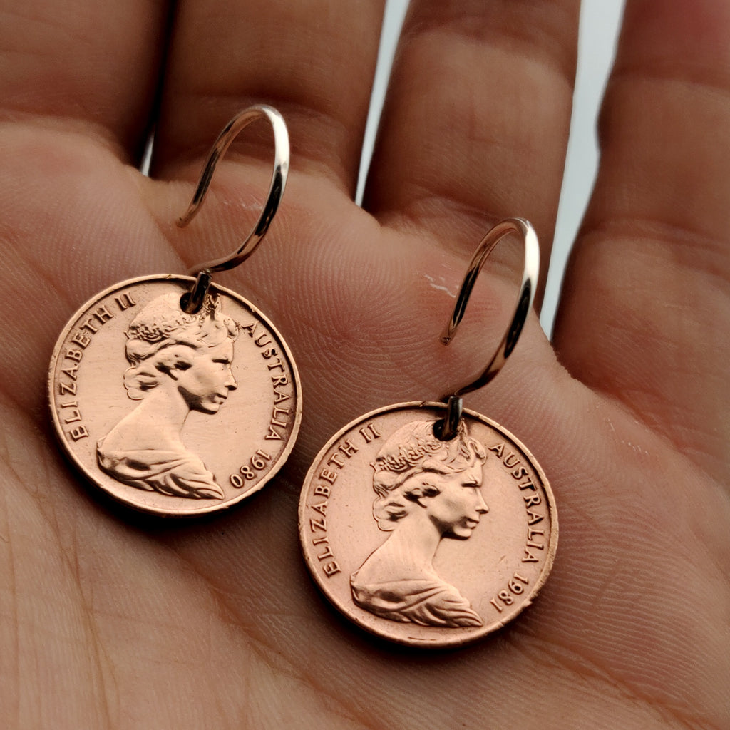 Authentic 1c Coin Earrings