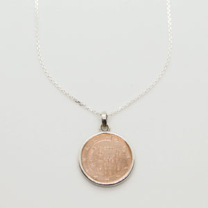 Two Tone Euro Coin Necklace
