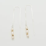 Beaded Pearl Threader Earrings