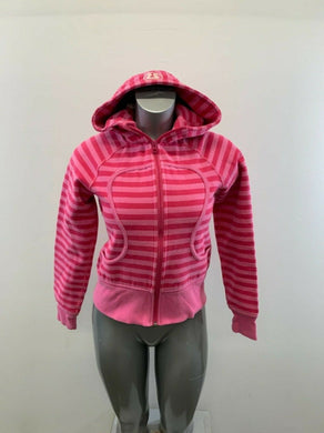 Lululemon Scuba Jacket Women's 6 Pink Hooded Full Zip Long Sleeve Jacket Hoodie