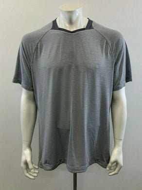 Lululemon Men's Gray Short Sleeve V Neck Athletic Gym Workout Shirt