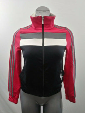 Adidas Women's Small Black Pink Long Sleeve Mock Full Zip Polyester Track Jacket