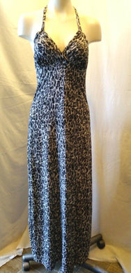 Women's Size Small Leopard Print Full Length Polyester Blend Halter Dress
