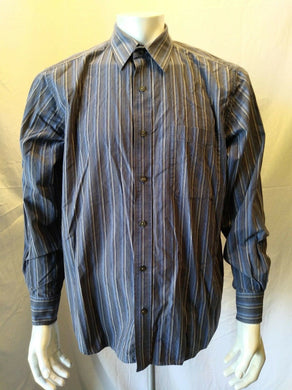 Eddie Bauer Classic Fit Men's Large Long Sleeve Blue Tan Striped Button Up Shirt