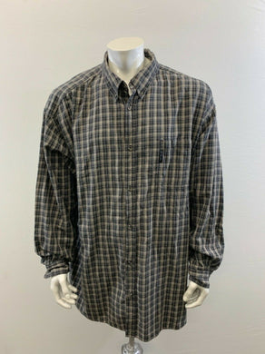 Columbia Men's 4XT Two Tone Gray Plaid Long Sleeve Button Up Cotton Casual Shirt