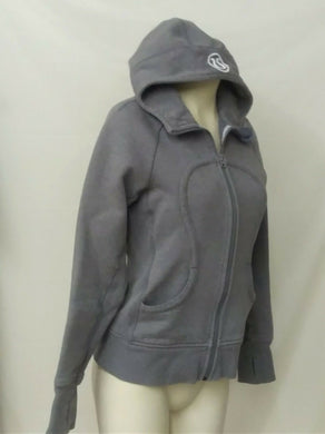 Lululemon Women's 6 Gray sparkle glitter full zip Scuba jacket hooded
