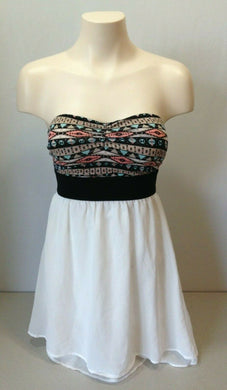 Ardene Women's White w/ Aztec Print Top Empire Waist Strapless Layered Dress XS