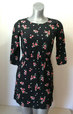 Divided H&M Womens Size 4 Black Pink  Floral 3/4 Sleeve Back Keyhole Dress
