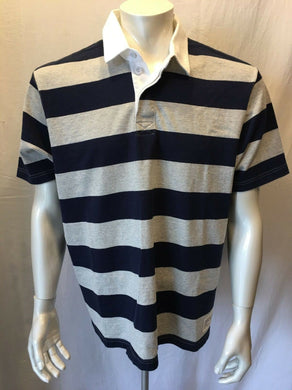 Eddie Bauer Men's Large Cotton Blue Gray Striped Short Sleeve Polo Shirt