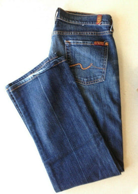 7 For All Man Kind Women's Size 30 Boot Cut Low Rise Distressed Denim Blue Jeans