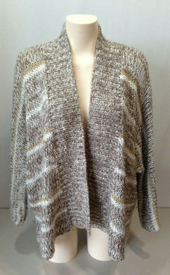 Billabong Women's 3/4 Sleeve White Brown Acrylic Open Cardigan Sweater Size S