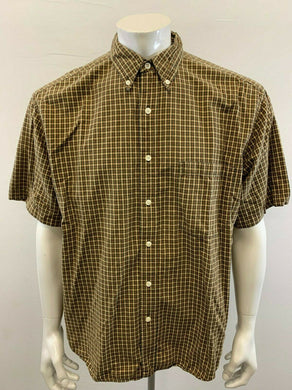 Eddie Bauer Button Down Men's Large Cotton Beige Green Plaid Short Sleeve Shirt
