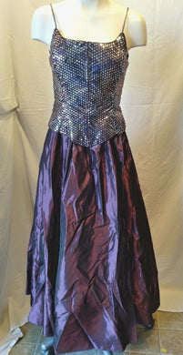 Dollar Women's Purple Silver Sequin Formal Gown Prom Evening Dress Size Small