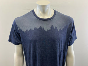 10 Trees T Shirt Men's XL Blue Tree Graphic Crew Neck Poly/Cotton Blend Tee