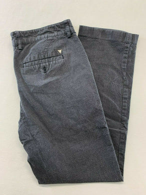 GUESS Men's Size 31 X 30 Gray Plaid Tapered Flat Front Cotton Casual Chino Pants