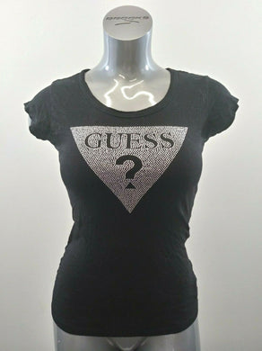 Guess Womens Small Black Silver Beaded Spell Out Cap Short Sleeve Cotton T Shirt