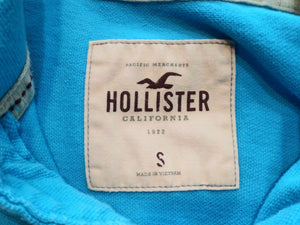 Hollister Embroidered Logo Blue Cuff Short Sleeve Men's Pique Polo Shirt Size S