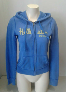 Hollister Hoodie Blue Long Sleeve Size Medium Womens Full Zip Hooded Jacket Sz S