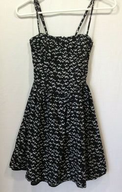 Ardene Women's Black White Geometric Print A-Line Spaghetti Strap Lined Dress XS