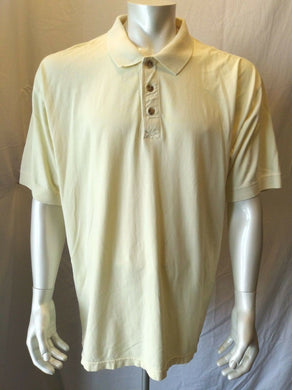Eddie Bauer Men's Large Yellow Cuffed Short Sleeve Cotton Casual Polo Shirt