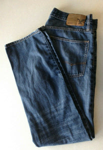 American Eagle Relaxed Straight Mens Whiskered Distressed Denim Blue Jeans 32/32