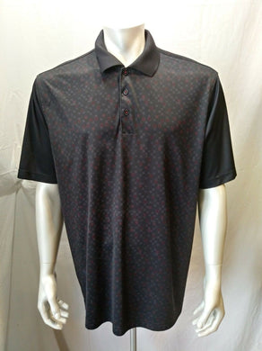 Adidas Clima Cool Men's XL Black Square Patterned Short Sleeve Polo Shirt