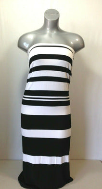 Buffalo Women's Size XS Black White Striped Full Length Strapless Maxi Dress