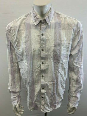 GUESS Slim Fit Men's XL White Gray Cotton Long Sleeve Button Up Casual Shirt