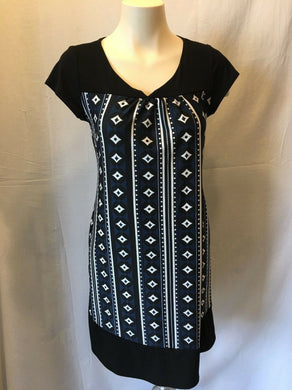 Jesser Women's Diamond Stripe Pattern V-Neck Short Sleeve Dress Size Medium