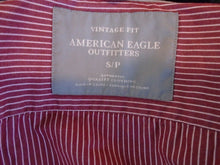 Load image into Gallery viewer, American Eagle Men's Long Sleeve Vintage Fit Red Striped Button Down Shirt Sz S