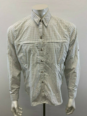 Eddie Bauer Size XL Mens White Gray Plaid Long Sleeve Button Up Nylon/Poly Shirt