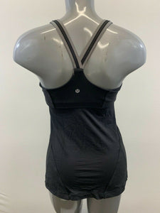 Lululemon Womens Size 6 Blue Black Cross Back w/Adjustable Build In Bra Tank Top