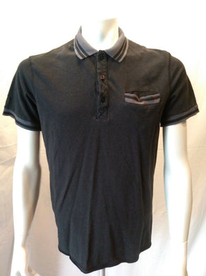GUESS JEANS Men's Large Black Cuffed Short Sleeve Cotton Pique Polo Shirt