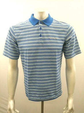 Columbia Men's Small Cotton Two Tone Blue Striped Short Sleeve Pique Polo Shirt