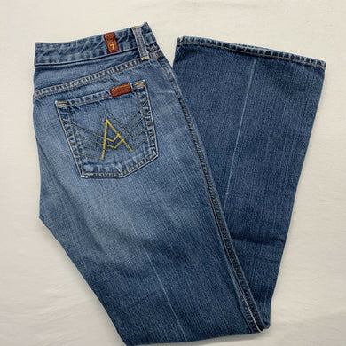 7 For All Mankind Blue Jeans Women's Size 30 Low Rise Cotton Distressed Boot Cut