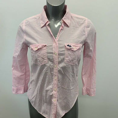 Abercrombie & Fitch Button Up Shirt Women's Large Pink White Striped Long Sleeve