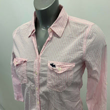 Load image into Gallery viewer, Abercrombie & Fitch Button Up Shirt Women's Large Pink White Striped Long Sleeve