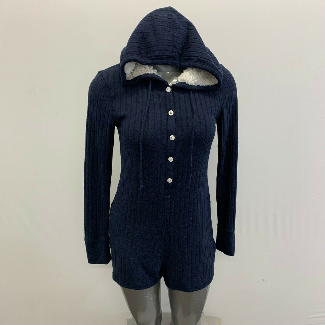 Abercrombie & Fitch Hooded Romper Women's Size Medium Blue Button UP Long sleeve