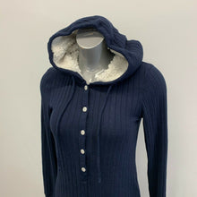 Load image into Gallery viewer, Abercrombie & Fitch Hooded Romper Women's Size Medium Blue Button UP Long sleeve