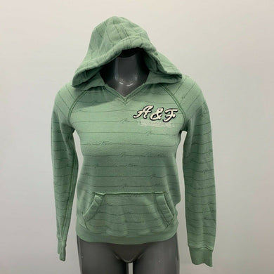 Abercrombie & Fitch Hoodie Women's Medium Green Striped Hooded Long Sleeve