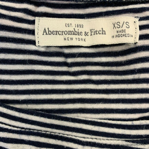 Abercrombie & Fitch Long Sleeve T Shirt Women's XS Blue White Striped Scoop Neck