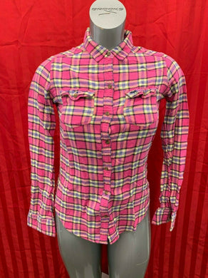Abercrombie & Fitch Women's Small Pink Blue Plaid Long Sleeve Button Up Flannel