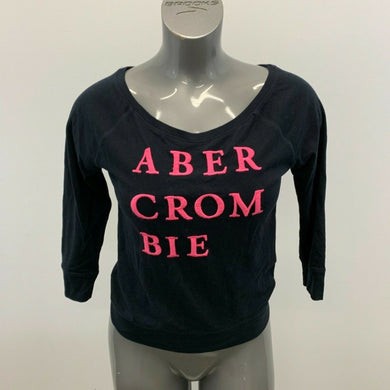 Abercrombie & Fitch Women's T Shirt Size Small Blue Pink Spell Out Scoop Neck